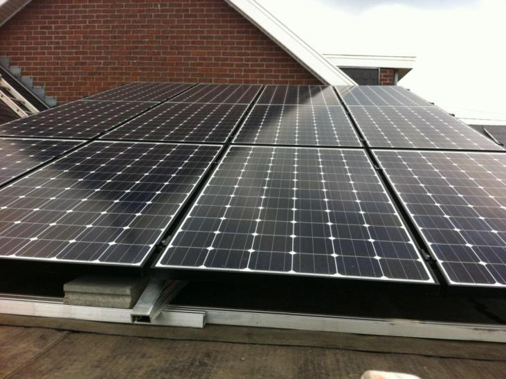 Zonnepanelen op plat dak Lubbeek