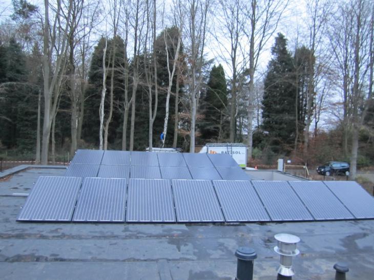 Zonnepanelen op plat dak Holsbeek
