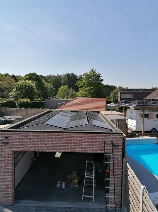 Zonnepanelen op plat dak Wechelderzande